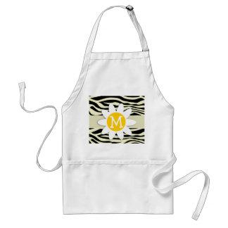Cream Zebra Stripes Animal Print; Daisy Adult Apron