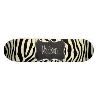 Cream Zebra Stripes Animal Print; Retro Chalkboard Skateboard
