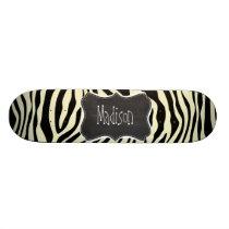 Cream Zebra Stripes Animal Print; Retro Chalkboard Skateboard Deck