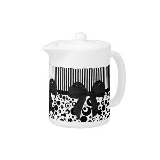 Creamer/Teapot - Bars, Bow & Bubbles Teapot