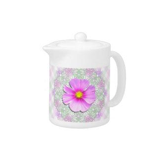 Creamer/Teapot - Bi-Color Cosmos on Lace & Lattice Teapot