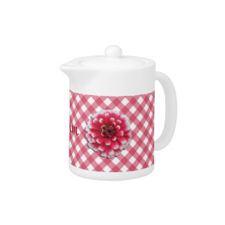 Creamer/Teapot - BiColor Zinnia on Lattice Teapot