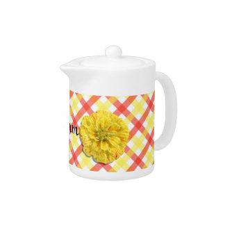 Creamer/Teapot - Candy Stripe Zinnia on Lattice Teapot