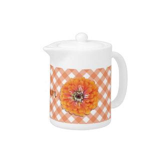 Creamer/Teapot - Orange Zinnia on Lattice
