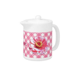Creamer/Teapot - Pink Zinnia on Lattice Teapot