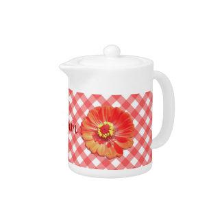 Creamer/Teapot - Red Zinnia on Lattice Teapot
