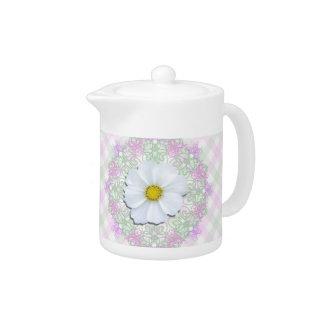 Creamer/Teapot - White Cosmos on Lace & Lattice Teapot