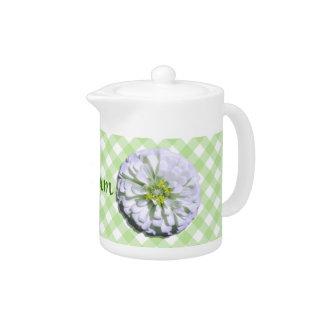 Creamer/Teapot - White Zinnia on Lattice Teapot