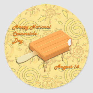 Creamsicle día 14 de agosto nacional pegatina redonda