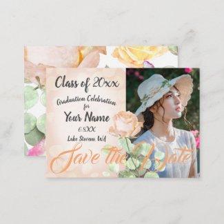 Creamsicle Floral Graduation Save-the-Date Advice Card