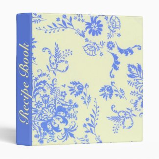 Creamy and Blue Damask Recipe Book