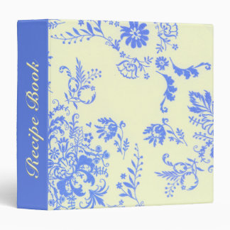 Creamy and Blue Damask Recipe Book 3 Ring Binder