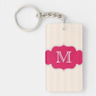 Creamy Beige Stripes Pink And White Monogram Keychain