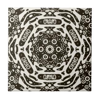 Creamy Brown Aztec Pattern Ceramic Tile