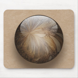 Creamy Coffee Brown Shiny Marble Mouse Pad