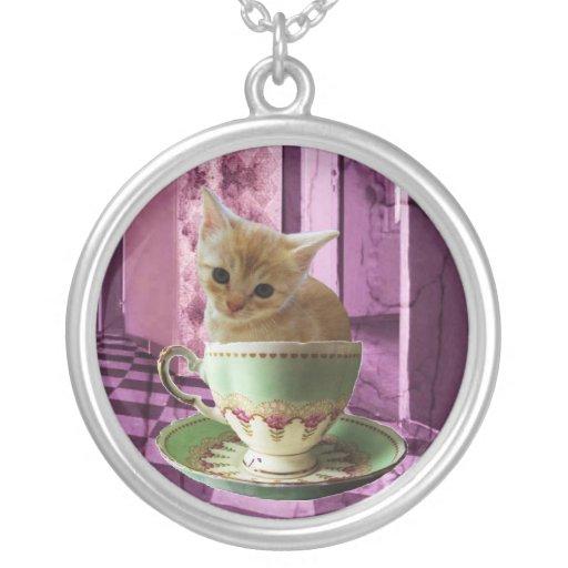 Creamy Coffee (purple room) kitten art necklace