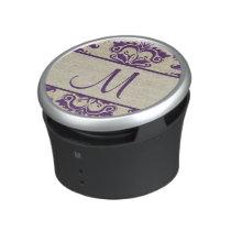 Creamy Damask with Amethyst Purple Swirls Speaker