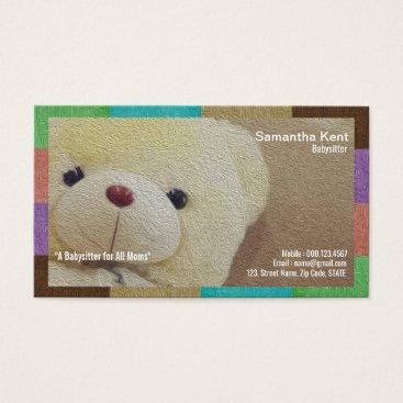 Creamy Fuzzy Cuddly Teddy Bear Nanny Business Card