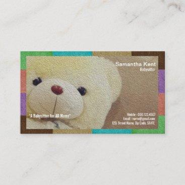 Creamy Fuzzy Teddy Bear Babysitter Business Card