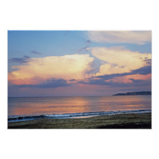 Creamy Mauve Pink Clouds and Peach Ocean Poster