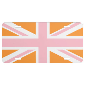 Creamy Orange and Pink Union Jack License Plate