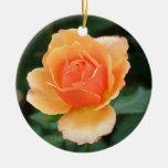 Creamy Orange Modern Rose Ceramic Ornament