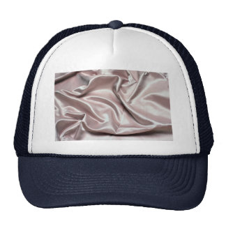 Creamy pink colored silk cloth trucker hats