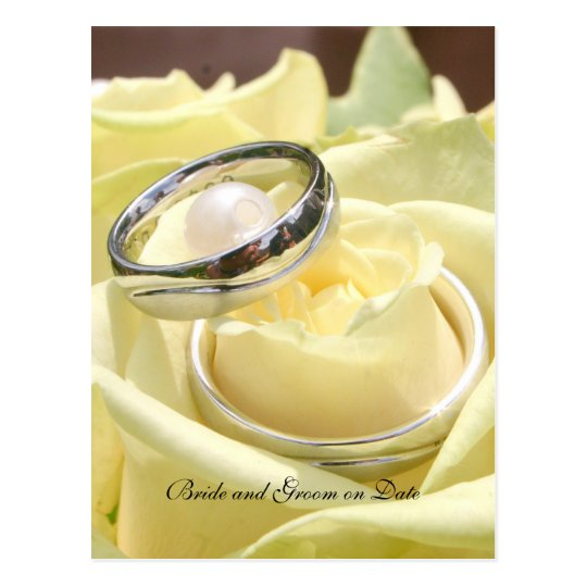 Creamy Rose Wedding Rings Save the date card