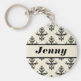 Creamy Tan & Black Damask Personalized Name Keychain