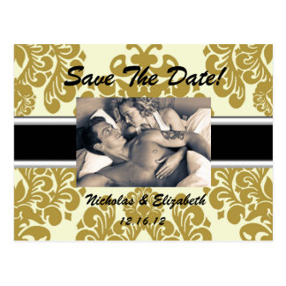 Creamy Tan Damask Save the Date Postcard