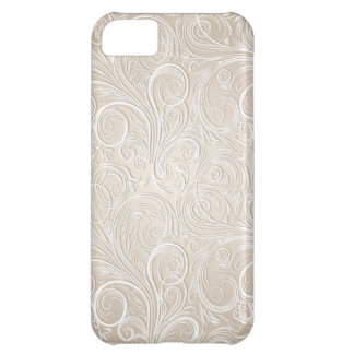 Creamy White & Gold Floral Paisley Swirls iPhone 5C Case