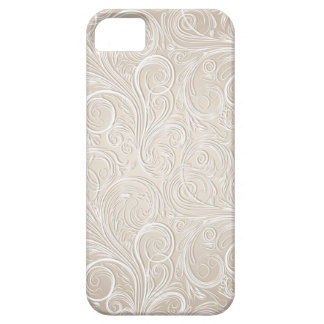 Creamy White & Gold Floral Paisley Swirls iPhone SE/5/5s Case