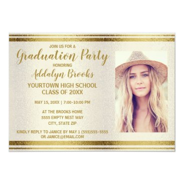 Professional Business Creamy White Gold Graduation Party Photo Invite