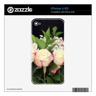 Creamy White Pink Roses Bouquet iPhone 4S Decals