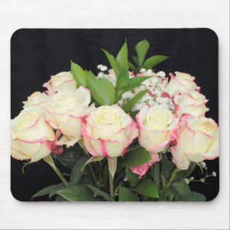 Creamy White Pink Roses Bouquet Mouse Pad
