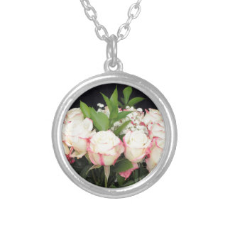 Creamy White Pink Roses Bouquet Silver Plated Necklace