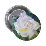 Creamy White Rose - Big Flower on Dark Leafy Back Pinback Button