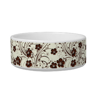 Creamy Yellow Chocolate Brown Flowers & Vines Cat Food Bowls