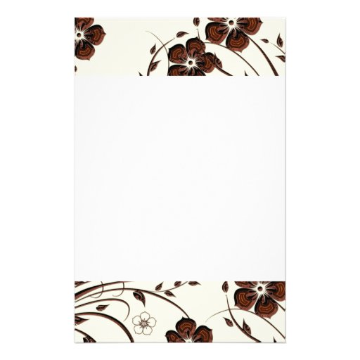 Creamy Yellow Chocolate Brown Flowers & Vines Customized Stationery