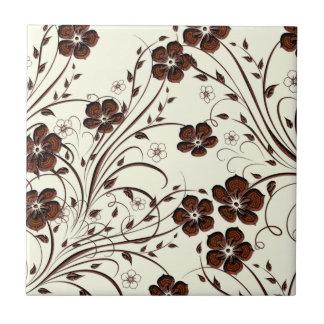 Creamy Yellow Chocolate Brown Flowers & Vines Tile