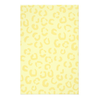 Creamy Yellow Leopard Print Pattern. Flyers