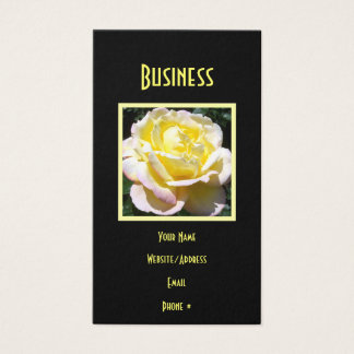 Creamy Yellow Pink Rose Business Card