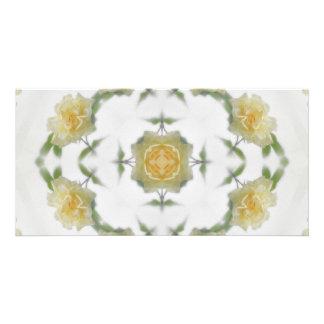 Creamy Yellow Rose Kaleidoscope Art 1 Card