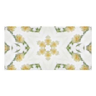 Creamy Yellow Rose Kaleidoscope Art 2 Card