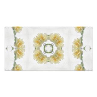 Creamy Yellow Rose Kaleidoscope Art 3 Card
