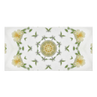 Creamy Yellow Rose Kaleidoscope Art 4 Card
