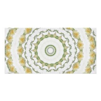 Creamy Yellow Rose Kaleidoscope Art 5 Card
