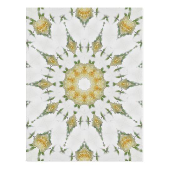 Creamy Yellow Rose Kaleidoscope Art 7 Postcard