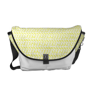 Creamy Yellow Weave Mesh Look Courier Bag
