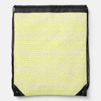 Creamy Yellow Weave Mesh Look Drawstring Backpack